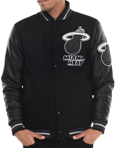 Nba, Mlb, Nfl Gear - Men Black Miami Heat Bogue Varsity Jacket W/ Vegan Leather Sleeves