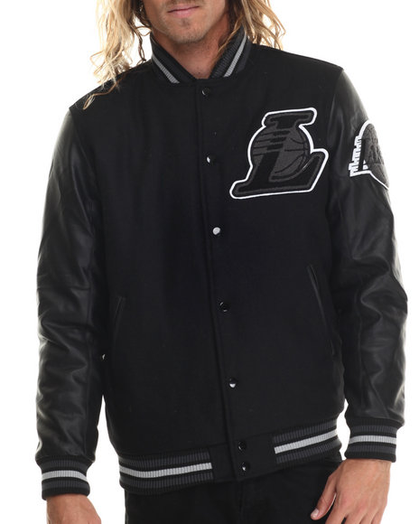 Ur-ID 222965 NBA, MLB, NFL Gear - Men Black Los Angeles Lakers Bogue Varsity Jacket W/ Vegan Leather Sleeves