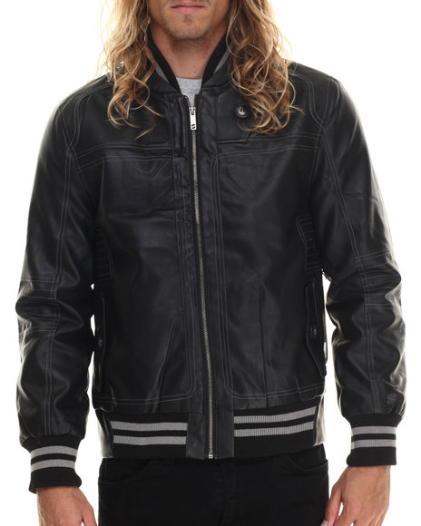 Basic Essentials - Men Black Stitch Moto Faux Leather Poly Fill Jacket