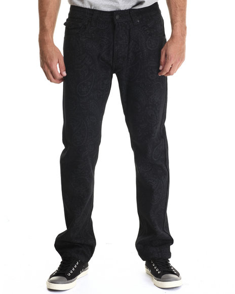 Buyers Picks - Men Black Paisley Print Coated Denim Jeans