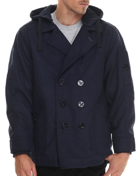 Basic Essentials - Men Navy Wool Peacoat With Removable Hood - $18.99