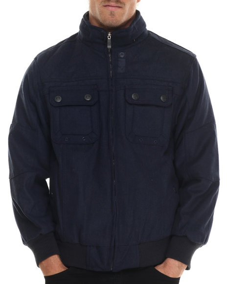 Basic Essentials - Men Navy Wool Bomber Jacket With Hidden Hood - $15.99