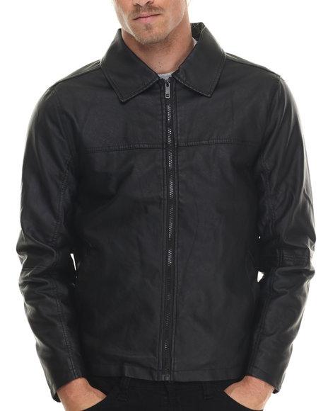 Basic Essentials - Men Black Dean Faux Leather Jacket - $33.99