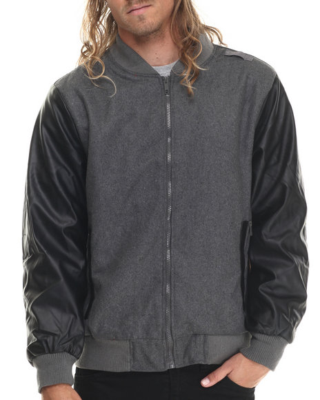 Basic Essentials - Men Charcoal Zip Varsity Faux Leather Jacket