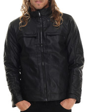 Leather Jackets - Faux Leather Poly Fill Jacket