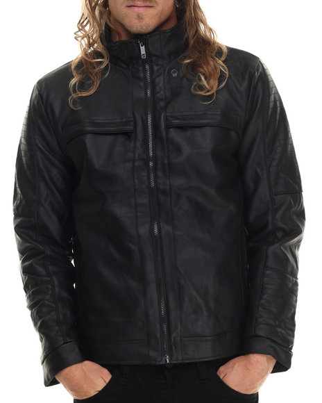 Basic Essentials - Men Black Faux Leather Poly Fill Jacket - $23.99