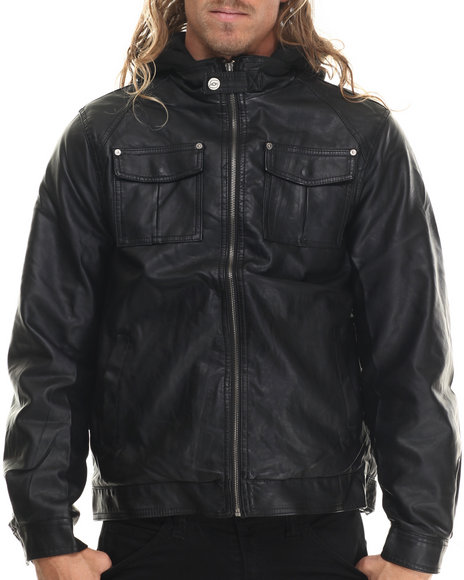 Basic Essentials - Men Black Hooded Faux Leather Jacket