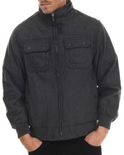 Heavy Coats - Wool Bomber Jacket with Hidden Hood