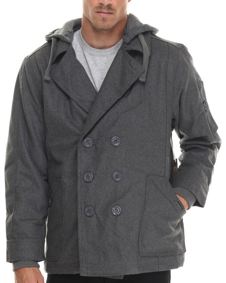 Basic Essentials - Men Grey Wool Peacoat With Removable Hood