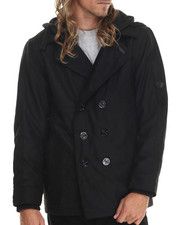 Men - Wool Peacoat with Removable Hood