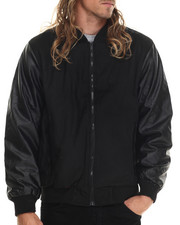Light Jackets - Zip Varsity Faux Leather Jacket