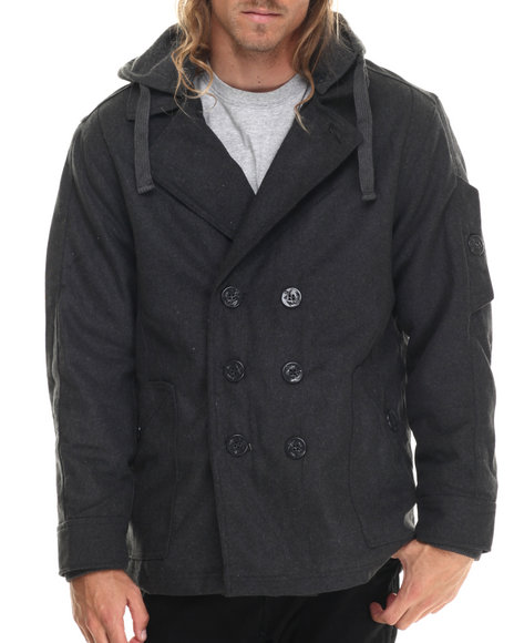 Basic Essentials - Men Charcoal Wool Peacoat With Removable Hood