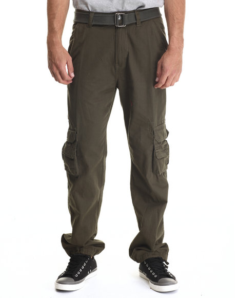 Basic Essentials - Men Olive Belted Military - Style Cargo Pants - $27.99
