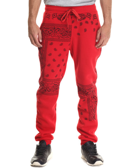 Basic Essentials - Men Red Bandana - Print Paisley Fleece Joggers