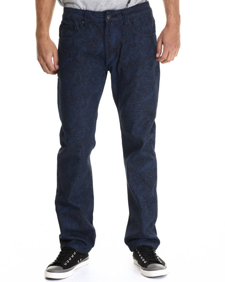 Buyers Picks - Men Navy Floral Print Coated Denim Jeans