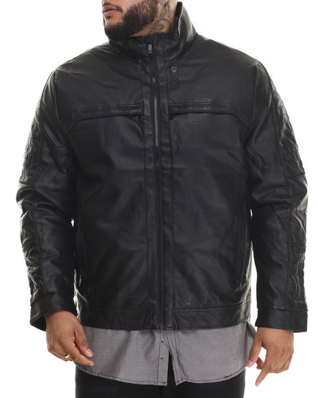 Basic Essentials - Men Black Hooded Faux Leather Jacket (B&T)