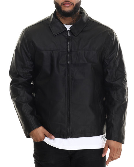 Basic Essentials - Men Black Dean Faux Leather Jacket