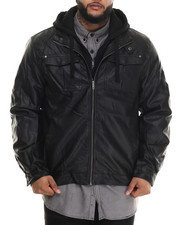 Leather Jackets - Hooded Faux Leather Jacket