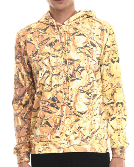 Justhype - Men Gold Liquid Gold Pullover Hoodie