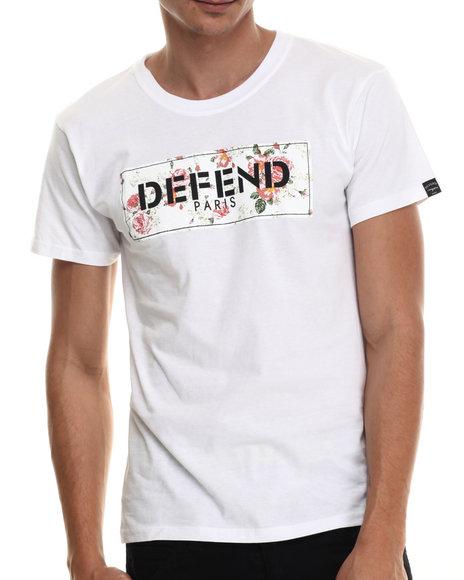 Defend Paris - Men White Floral Block Logo S/S Tee