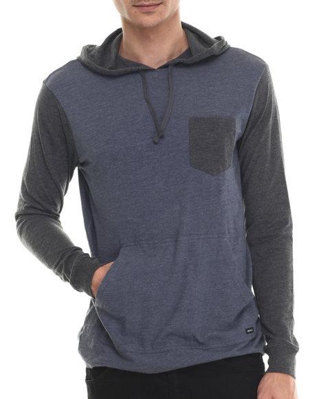 Rvca - Men Black,Dark Blue Set Up Jersey Pullover Hoodie