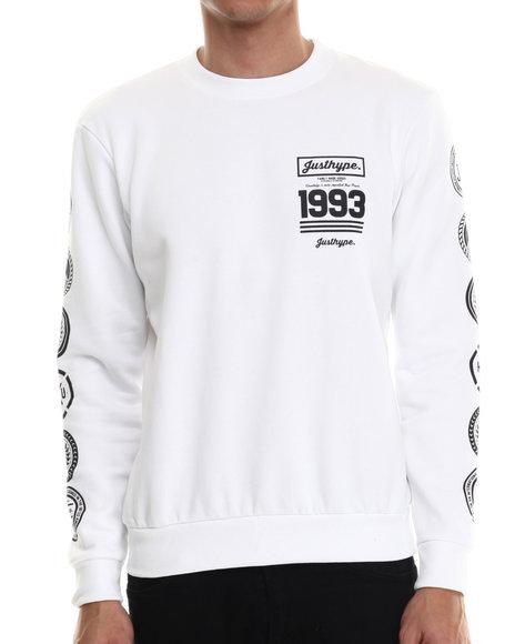 Justhype - Men White City Emblem Crewneck Sweatshirt