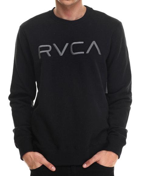 Rvca - Men Black Rvca Embroidered Pullover Crewneck Sweatshirt