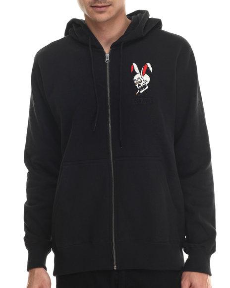 Rvca - Men Black Rabbit Skull Zip Fleece Hoodie