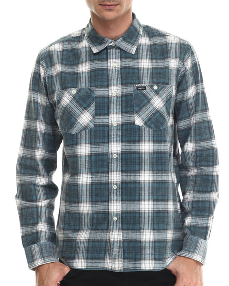Ur-ID 213510 RVCA - Men Blue Bends L/S Flannel Button-Down