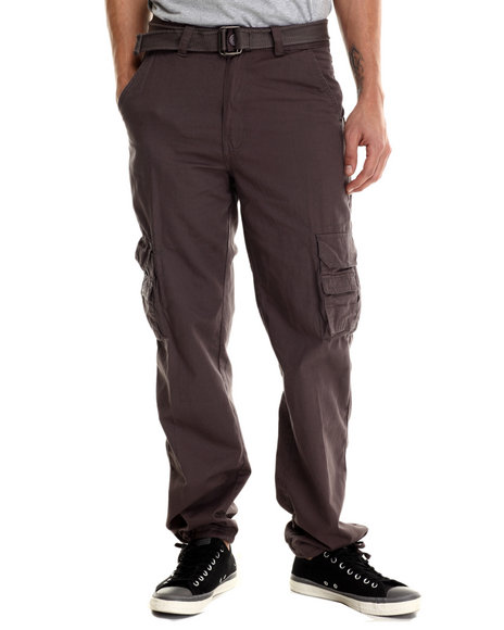 Basic Essentials - Men Charcoal Belted Military - Style Cargo Pants