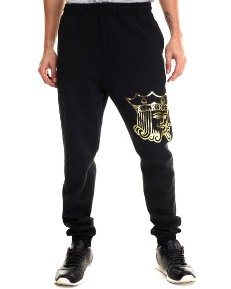 Jacks & Jokers - Men Black Gold Kings Sweatpants