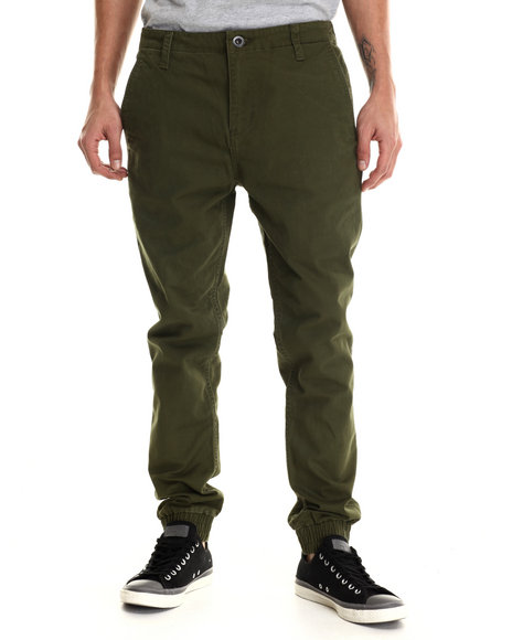 Rvca - Men Olive House Arrest Twill Jogger Pants