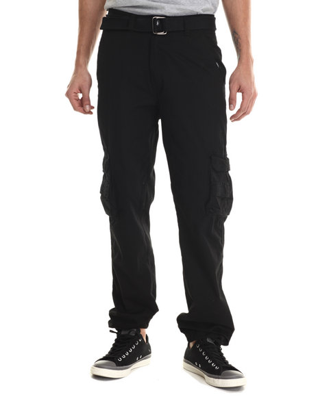 Basic Essentials - Men Black Belted Military - Style Cargo Pants