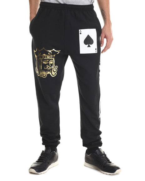Jacks & Jokers - Men Black All Kings Sweatpants