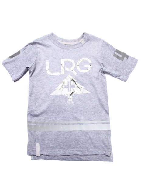 Lrg - Boys Grey Marble Tree Slim Elongated Tee (4-7)