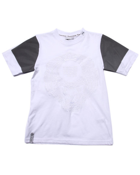 Lrg - Boys White 47 Lions Reflective Tee (8-20)