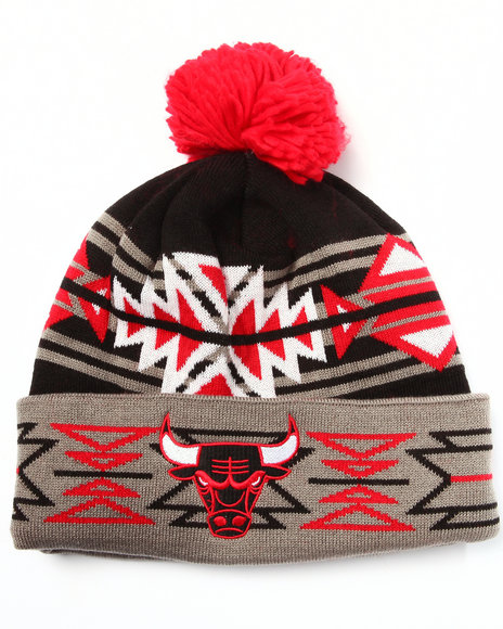 Ur-ID 222969 Mitchell & Ness - Men Black Chicago Bulls Nba Hwc Geotech Cuffed Pom Knit