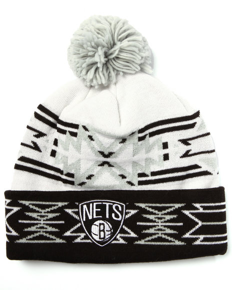 Mitchell & Ness Men Brooklyn Nets Nba Current Geotech Cuffed Pom Knit Black