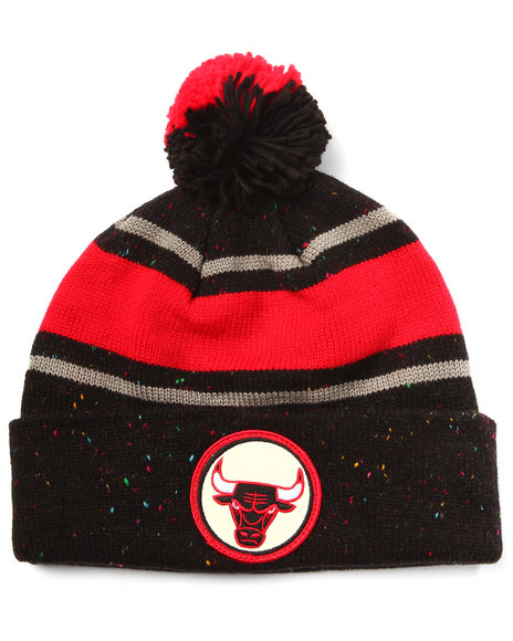 Mitchell & Ness Men Chicago Bulls Nba Vintage Speckled Cuffed Pom Knit Black