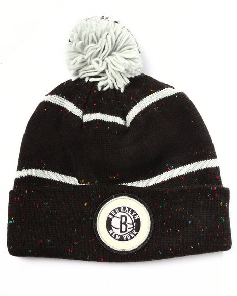 Ur-ID 222975 Mitchell & Ness - Men Black Brooklyn Nets Nba Vintage Speckled Cuffed Pom Knit Hat