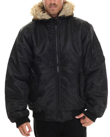 Basic Essentials - Men Black Poly - Satin Faux Fur - Lined Hooded Bomber