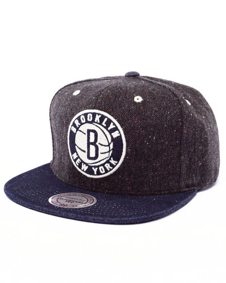 Ur-ID 222983 Mitchell & Ness - Men Indigo Brooklyn Nets Nba Hwc Tweed Crown Denim Visor Strapback