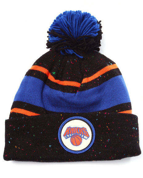 Ur-ID 222987 Mitchell & Ness - Men Black New York Knicks Nba Vintage Speckled Cuffed Pom Knit Hat