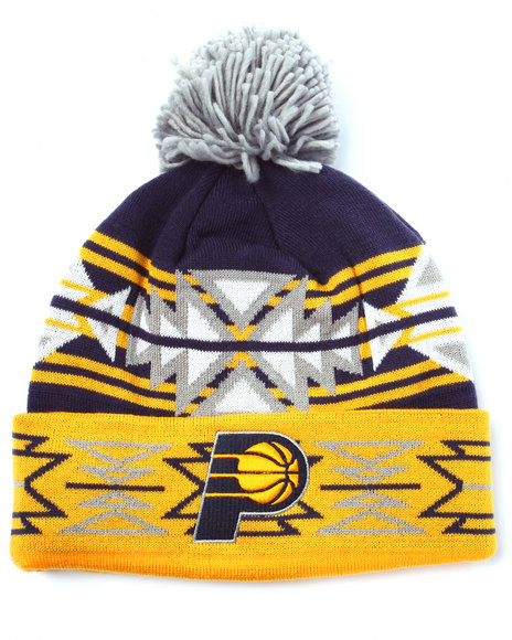 Ur-ID 222989 Mitchell & Ness - Men Yellow Indiana Pacers Nba Current Geotech Cuffed Pom Knit Hat