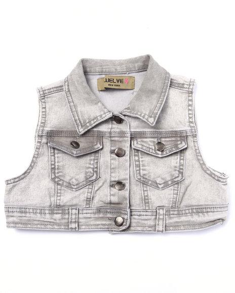 La Galleria - Girls Light Grey Baked Wash Crop Denim Vest (7-16)