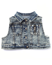 La Galleria - JESSICA CROPPED DENIM TRUCKER VEST (4-6X)