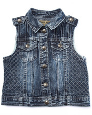 Girls - QUILTED MOTO DENIM VEST (7-16)