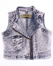 La Galleria - COTTON CANDY ACID DENIM VEST (2T-4T)