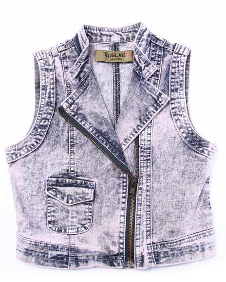 La Galleria - Girls Light Pink Cotton Candy Acid Denim Vest (7-16)
