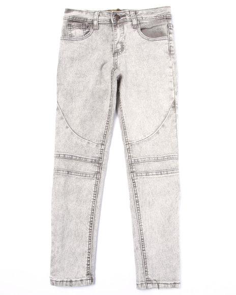 La Galleria - Girls Light Grey Baked Wash Moto Zip Skinny Jeans (7-16)